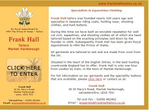 Frank Hall Tailors   Specialists in equestrian clothing  riding coats  hunting wear and shooting clothes.