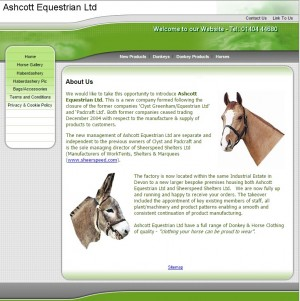 Home   Welcome to our Website   Tel  01404 44680   Ashcott Equestrian Ltd