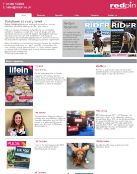 Redpin Publishing Ltd specialising in contract publishing  magazine production  marketing development  website design and management.