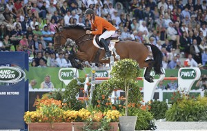 Jeroen DUBBELDAM riding Zenith SFN NED in the Second Round of the Team Show Jumping Competition at WEG in Stadium D'Ornano Caen, Normandy in France between 23 August to 7 September 2014